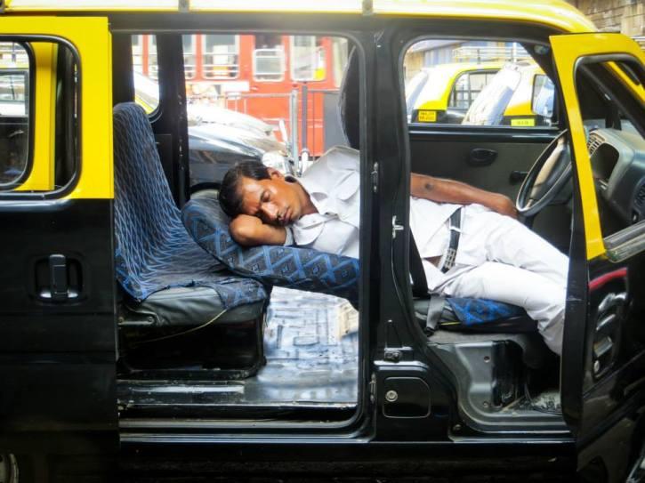 Sleeping Mumbai Taxi Driver